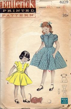Butterick 6229 1950s Girls Flare Skirted Shirtwaist Dress Pattern childs vintage rockabilly sewing pattern by mbchills