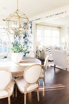A traditional space with a fresh modern feel - Studio McGee - Modern Dining Dining Room Inspiration, Home Decor Inspiration, Decor Ideas, Decorating Ideas, Design Inspiration, Tv Decor, Furniture Inspiration, Wall Ideas, Interior Decorating
