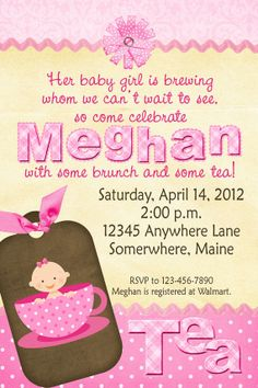 Tea Cup Baby's Brewing Baby Shower Invitations by PartyPrintz04974, $12.00