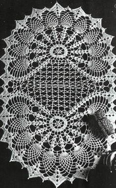 Oval Table Center - TWO FANS  Crochet Patterns