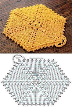 Hexagon groß häkeln - crochet Free Crochet Potholder Patterns These are all links to Free Potholder Patterns. Crochet Potholder Patterns, Crochet Motifs, Crochet Dishcloths, Crochet Blocks, Crochet Diagram, Doily Patterns, Crochet Chart, Crochet Squares, Crochet Doilies