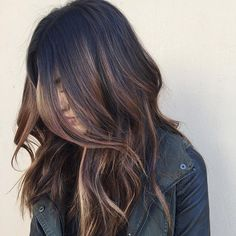 Black Hair With Brown Balayage Highlights