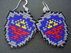 Woven Seed Bead Hylian Shield Earrings by Pixelosis.deviantart.com on @deviantART
