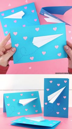 Kids will love creating these simple paper airplane valentine cards. This is an easy to make Valentine's Day card idea for classroom Valentines, teachers or family. These paper airplane Valentines are sure to be a hit! Kinder Valentines, Funny Valentine, Valentines Day Cards Diy, Valentine Crafts For Kids, Homemade Valentines, Diy Birthday Cards 3d, Teachers Day Card, Teacher Cards, Valentine's Cards For Kids