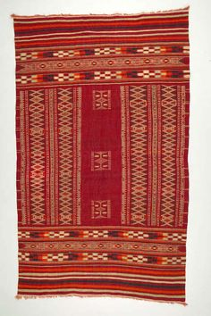 Africa | Floor rug from Oudref, Tunisia | ca. 1930-40 | Wool and cotton; supplementary weft, interlocking tapestry woven.