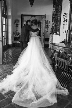 Wedding dress trail-black and white photo