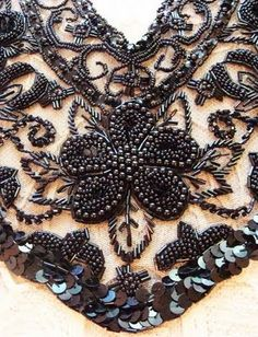 style bead and sequin embroidery work. This is incredibly weighty and usually done on heavy tulle or backing fabric and then applied to stiff linen or cotton dresses. Pearl Embroidery, Tambour Embroidery, Couture Embroidery, Embroidery Stitches, Hand Embroidery, Embroidery Designs, Bordados Tambour, Bordados E Cia, Tambour Beading