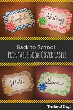 Back to School Printable Book Cover Labels from Weekend Craft