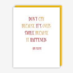 """Quote Card with blank interior and yellow envelope. Dimensions: 4.25""""w x 5.5""""h (A2 size) ABOUT THE ARTIST Jake & Sam Seattle, Washington Jake and Sam create typographically and quotably interesting ca"""