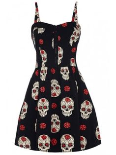 Women's Day Of The Dead Skulls & Roses Dress