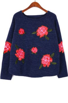 Sweet Rose Embroidered Sweater - OASAP.com