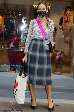 Stepping out: Sarah Jessica Parker was New York chic when she swung by her SJP shoe store ... Sarah Jessica Parker, Got The Look, Style And Grace, Modest Outfits, Tartan, Nyc, Glamour, Couture, Celebrities