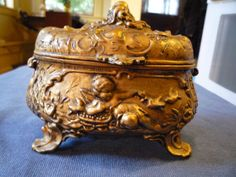 Antique gold gilded ORNATE jewelry  Casket box CUPIDS CHERUBS FLORAL lined