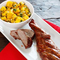Skinny Sweet and Fiery Pork Tenderloin with Mango Salsa (one of the best salsas ever! Mango Salsa, Ribs, Pork Recipes, Healthy Recipes, Ww Recipes, Healthy Eats, Mango Recipes, Asian Recipes, Yummy Food
