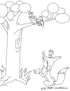 THE RAVEN AND THE FOX coloring page Online Coloring Pages, Coloring Pages For Boys, Coloring Pages To Print, Colouring Pages, Coloring Sheets, Coloring Books, Fairy Tale Projects, Fox Coloring Page, Sequencing Pictures