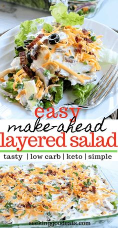 A simple make-ahead recipe, this low carb layered salad is perfect for a weeknig. A simple make-ahead recipe, this low carb layered salad is perfect for a weeknight dinner or a part Mayonnaise, Healthy Recipes, Low Carb Recipes, Baking Recipes, Salad Recipes For Diet, Recipes For Dinner, Clean Diet Recipes, Soup Recipes, Beginner Recipes