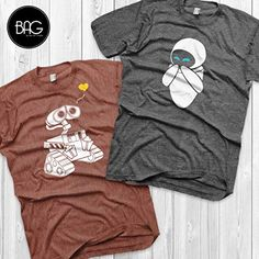 Couple Outfit vacation Wall-e and Eve Shirts Disney Couples Shirts Wall-e Custom Matching Shirts Couple. Wall-e and Eve Shirts Disney Couples Shirts Wall-e Custom Matching Shirts Couple T-shirts vacation shirts Disney Couple Shirts, Matching Disney Shirts, Matching Couple Shirts, Couple Tshirts, Matching Couples, Matching Outfits, Funny Couple Shirts, Couples Assortis, Disney Couples