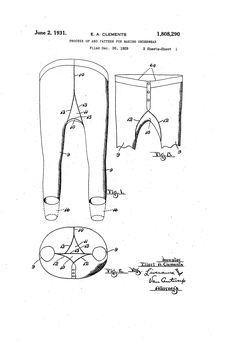 Patent US1808290 - Process of and pattern for making underwear - Google Patents MULTIPLE IMAGES Multiple Images, Patent Pending, Underwear, Google, Pattern, Patterns, Model, Lingerie, Swatch