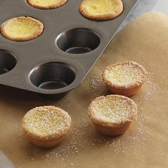 Dainty citrus tarts are a sweet addition to any tea table. These lemon tartlets have a buttery shell and custard-like filling. Lemon Desserts, Just Desserts, Delicious Desserts, Yummy Food, Trifle Desserts, Mini Desserts, Plated Desserts, Healthy Desserts, Top Dessert Recipe