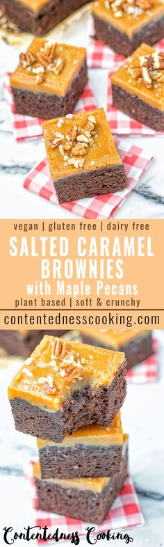This Salted Caramel Brownies with Maple Pecans are entirely vegan, gluten free and so amazingly satisfying. An easy recipe, impressive edible gift which happen to be plant based. A great dairy free alternative to regular brownies.