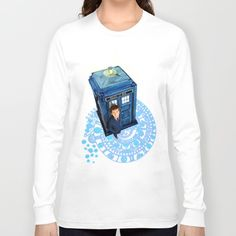 Doctor at Arch of time Zone Long Sleeve T-shirt @society6 #tshirt #clothing #longsleeve #tardisdoctorwho #arch #symbol #timezone #timemachine #phonebox #davidtenannt