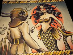 Its a mermaid yo! And a vintage diver! How can you go wrong?? Print size is 11x11 square dimension and is printed on Epson Ultra Premium