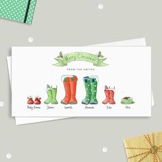 Beautiful and charming watercolour Wellington boot family print. Christmas 2016, Christmas Colors, Diy Christmas Gifts, Family Christmas, Merry Christmas, Personalized Christmas Cards, Personalised Family Print, Watercolor Christmas Cards, Watercolor Cards