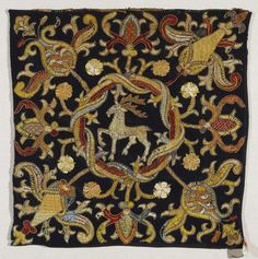 Title: Embroidery Depicting a Deer Place of creation: Germany or Spain Date: Late 16th-early 17th century Material: linen (ground), silk threads and leather cord Technique: embroidery in flat, knot, split and couched stitches technique Inventory Number: Т-3845