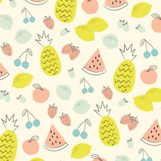 © Eine Kleine Design Studio #surfacedesign #fruit #pattern #illustration