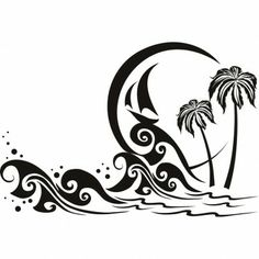 Tattoo wave arm palm trees 56 ideas for 2019 Stencils, Stencil Art, Deco Surf, Stencil Patterns, Vinyl Crafts, Kirigami, Silhouette Projects, Pyrography, Vector Graphics