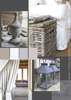 grey-wahed wicker baskets, white slip-covered sofas, zinc lanterns and rustic linen draped curtains - The Paper Mulberry: Essentially French!