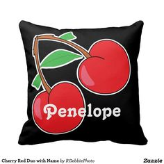 Cherry Red Duo with Name Pillow $37.95 Don't forget to decorate your couch and chairs! Easy to change text. 70s pop art style cherry duo. Real retro feel to this design, two bright red cherries with brown stems and green leaves. Design available across most products, see our Illustrated Fruit line in our main store!