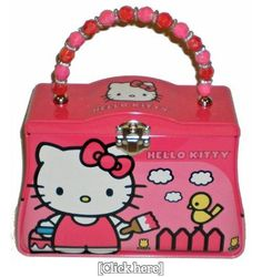 Hello Kitty Painting Classic Purse Tin with Beaded Handle