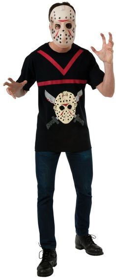 Jason Adult Michael Myers Halloween Costume for Men includes a black printed shirt with an image of Jason and striped red lines .