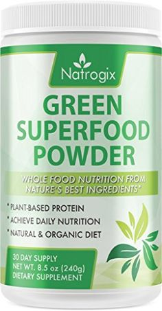 Natrogix Green Superfood Powder PlantBased Protein Achieve Daily Food Nutrition Natural  Organic Diet Riches in Vitamins Minerals and Antioxidant Fruits Original Flavor Made in USA 85 Oz * You can get additional details at the image link.