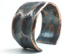 Mens Copper Bracelet Cuff Oxidized Patina Rustic Earthy Organic Forged - Chased Impressions - Hammered Textured Masculine Statement Bold-HAMMERHEADdesigns on etsy