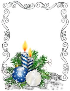 Christmas frame with bulbs and candles silver and blue                                                                                                                                                                                 Mehr
