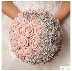Gorgeous flower and brooch bouquet