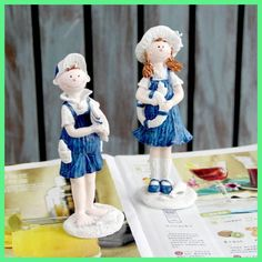 Resin garden decoration artesanato resina enfeites para quarto objetos decorativos coisas fofas doll couple navy ornaments style