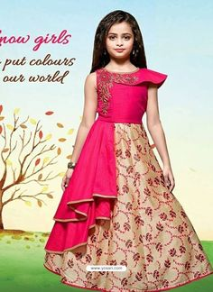 AF 88003 - 88004 Satin Tapheta Fabric Printed Embroidered Children Special Designer Party Wear Traditional Occasionally Fashion Kids Gown Singles Wholesale Supplier from Surat at Best Price - Full Set Price - INRSingle Piece Price : INR + Shipping & Party Wear Frocks, Kids Party Wear Dresses, Wedding Dresses For Kids, Kids Dress Wear, Kids Gown, Gowns For Girls, Frocks For Girls, Girls Party Wear, Girls Dresses Sewing