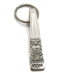 Stamped Spoon Keyring Mom Key Chain by TheSilverwearShop on Etsy