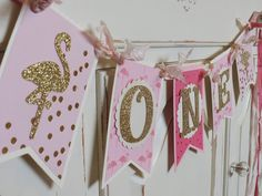 FLAMINGO 1st Bithday Banner ONE Smash Cake by WhateversHandmades