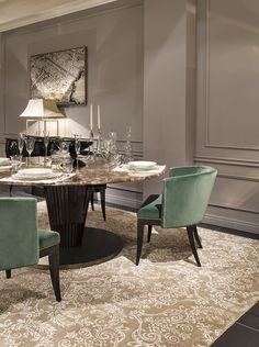 Beautiful autumn colors, gold green and black.  Royal table, Emerald chairs are the perfect choice for your dining room. Luxury Living