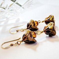Copper Gold Flower Earrings folksy.com