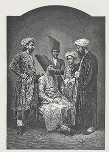 """""""Parsees of Bombay"""" a wood engraving ca. 1878. The collapse of the Sassanid Empire caused the state religion to be switched from Zoroastrianism to Islam. Zoroastrianism slowly went from a major religion to a persecuted minor religion. For the survival of their faith and their lives, a large number of Zoroastrians chose to emigrate. According to the Qissa-i Sanjan, one group of those refugees landed in what is now Gujarat, India,"""