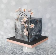 Torta cuadrada Cerezos by Cecilia Solján Birthday Cake Decorating, Cake Decorating Supplies, Cake Decorating Techniques, Beautiful Cake Designs, Beautiful Cakes, Concrete Cake, Cake Design For Men, Single Tier Cake, Dad Cake