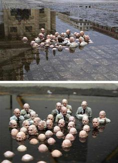 Street art sculpture by Issac Cordal in Berlin . Called Politicians discussing global warming - reminds me of one of the creepy Hell scenes in What Dreams May Come Graffiti, Sticker Art, Modern Art, Contemporary Art, Art Public, Art Sculpture, Foto Art, Outdoor Art, Land Art