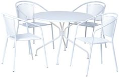 Patio Furniture Dining Set Outdoor Iron Sets 5 Piece Table Stackable Chairs #AlfrescoHome