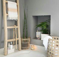 Bamboo Ladders, Bathroom Styling, Bathroom Inspiration, Ladder Decor, Living Room, Instagram Posts, Bathrooms, Home Decor, Blog