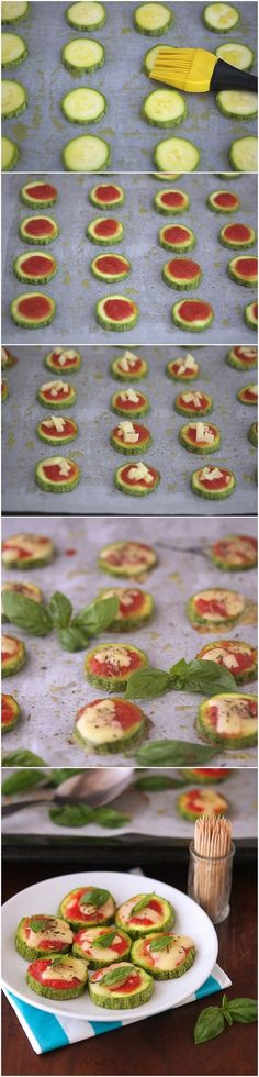 Zucchini Pizza Bites Recipe Ingredients Serves 4 (about 60 bites) 2 large zucchini, sliced into ¼-inch thick rounds ⅓ cup tomato sauce ⅓ cup shredded mozzarella 2 tablespoons olive oil Fine grain s… Zucchini Pizza Bites, Zucchini Cheese, Zucchini Tomato, Vegan Cheese, Baby Food Recipes, Cooking Recipes, Cocina Natural, Mini Pizzas, Fingerfood Party